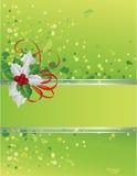 Groene Kerstkaart met hulstbessen Royalty-vrije Stock Foto's
