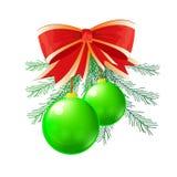 Groene Kerstmisbal Stock Afbeelding