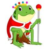 Groene kikker met het gebruiken van kroon vector illustratie