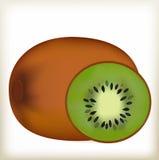 Groene kiwi, een bruine schil, een rijp fruit, Stock Foto's