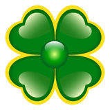 Groene Klaver met vier bladeren Stock Foto's
