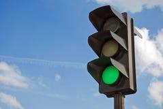 Groene kleur op het verkeerslicht Stock Fotografie