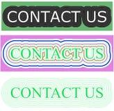 Groene kleuren rechthoekige achtergrond met contact ons werktijd Stock Foto's