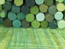 Groene kleurpotloden Royalty-vrije Stock Afbeeldingen