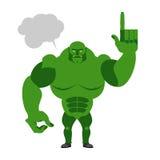 Groene Kobold met een tekstbel De vinger verschijnt Groot en powerf Stock Afbeeldingen