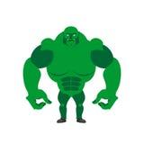 Groene Kobold op een witte achtergrond Sterk monster met groot Ha Stock Foto's
