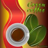 Groene koffiekaart met lint Royalty-vrije Stock Afbeeldingen