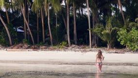 Groene kokospalm op exotisch eiland en jonge vrouw die in duidelijk zeewater lopen Vrouw die van gang op transparante oceaan geni stock videobeelden