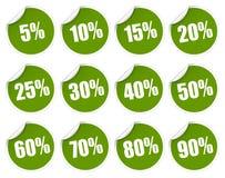 Groene kortingssticker - Stock Afbeeldingen