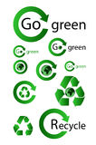 Groene kringlooppictogrammen Royalty-vrije Stock Foto