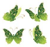 Groene kunstvlinder die, bloemen gouden ornament vliegt stock illustratie