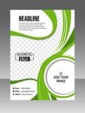 Groene Lay-out bedrijfsbrochure Lay-outvlieger, vectormalplaatje Stock Afbeelding