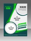 Groene Lay-out bedrijfsbrochure Lay-outvlieger, vectormalplaatje Stock Fotografie