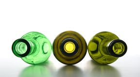 Groene lege flessen voor recycling Royalty-vrije Stock Foto
