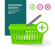 Groene lege plastic mand met handvat Online Winkelend Supermarktvoorwerpen Voeg toe, verwijder, schrap Stock Afbeeldingen