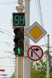 Groene lichte vertoning met een aftelprocedure Stock Fotografie