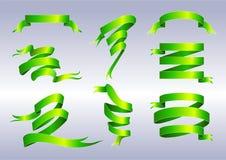 Groene linten Royalty-vrije Stock Afbeeldingen