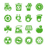 Groene milieupictogrammen Royalty-vrije Stock Foto