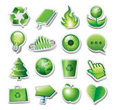 Groene milieupictogrammen Stock Afbeelding