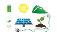 Groene milieupictogrammen Stock Afbeeldingen