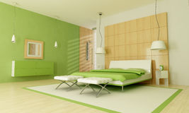 Groene moderne slaapkamer Royalty-vrije Stock Fotografie