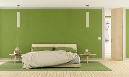 Groene moderne slaapkamer Royalty-vrije Stock Afbeeldingen
