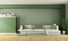 Groene moderne woonkamer Royalty-vrije Stock Afbeelding