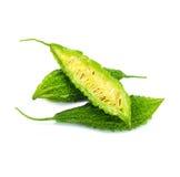 Groene Momordica of karela, Verse groene bittere pompoen op wit stock afbeeldingen