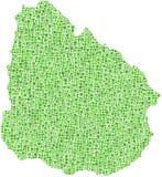 Groene mozaïekkaart van Uruguay Stock Afbeeldingen