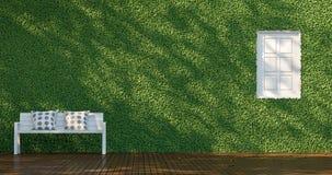 Groene muur & Wit Stoel 3D Teruggevend Beeld Royalty-vrije Stock Foto
