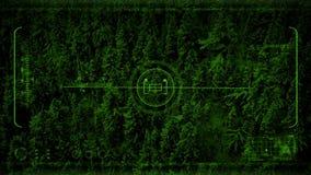 Groene nachtvisie POV die voorbij berghelling vliegen stock video