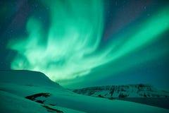 Groene Noordelijke lichten in Eiland royalty-vrije stock foto