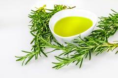 Groene olie en essentiële uittreksels van rozemarijn stock afbeeldingen