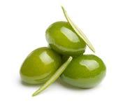 Groene olijven met bladeren Royalty-vrije Stock Foto