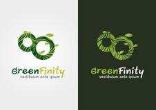Groene oneindigheid Een mengeling van de oneindigheidsvorm met een eco Stock Fotografie