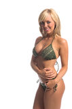 Groene Opgesmukte Blonde Bikini royalty-vrije stock afbeelding