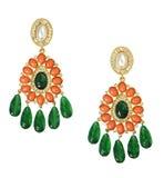 Groene, oranje en gouden oorringen de van juwelen, Stock Foto's