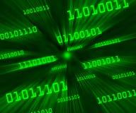 Groene overgehelde bytes van binaire code het vliegen royalty-vrije illustratie