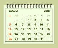 Groene pagina Augustus 2018 op mandalaachtergrond Royalty-vrije Stock Afbeeldingen