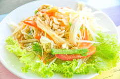 Groene papajasalade Royalty-vrije Stock Foto's