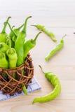 Groene paprika in een kleine pot Stock Afbeelding