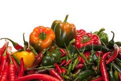 Groene paprika en Spaanse peper Royalty-vrije Stock Foto's