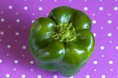 Groene paprika groen op een purpere stipoppervlakte Stock Fotografie