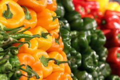 Groene paprika's bij Landbouwbedrijfmarkt Stock Foto