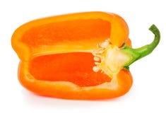 Groene paprika's met half geïsoleerd op wit Stock Afbeeldingen