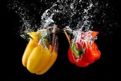 Groene paprika in water met plons stock foto