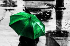 Groene paraplu Royalty-vrije Stock Afbeeldingen