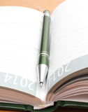 Groene pen die op open organisator op een bureau ligt Stock Foto's