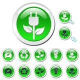 Groene Pictogrammen Eco Stock Afbeeldingen