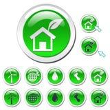 Groene Pictogrammen Eco Royalty-vrije Stock Afbeeldingen